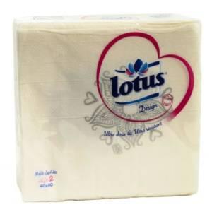 Serviettes de table Blanches 2 plis Lotus Design (40X40) 45 serviettes