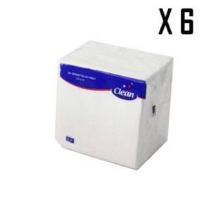 6* CLEAN 90 Serviettes de Table 1 PLI 23*23 cm
