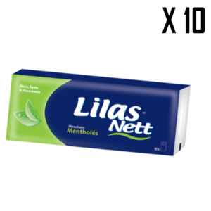 10* LILAS NETT MOUCHOIRS MENTHOLES