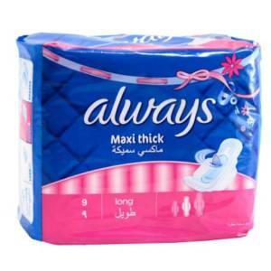 Serviettes périodiques Always Maxi Thick long 9 serviettes